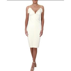 Black Halo Biscane White Sleeveless Cocktail Dress